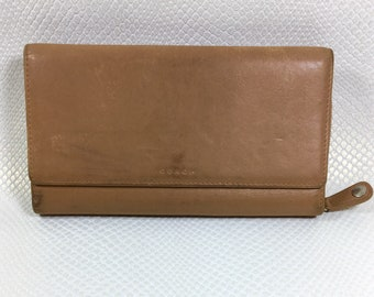 Vintage Coach Brown Leather TriFold Wallet, Brown Leather Checkbook Wallet, Coach Wallet, Vintage Coach Clutch, Brown Leather Clutch
