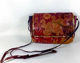 Vintage Boho Tribal Embossed Leather Crossbody Purse, Multi Colored Embossed Leather Bag, vintage Boho Chic Crossbody Purse, Boho Fashion