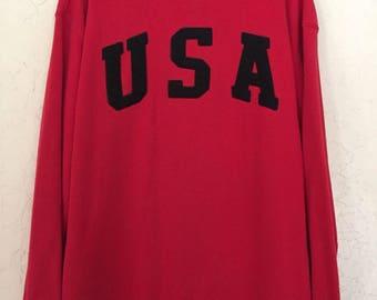 USA Olympics Big Logo 90s Vintage Crewneck Sweatshirt, Vintage Streetwear, Mens Streetwear, Oversized Baggy Sweater, 90s Grunge, 90s Hip Hop