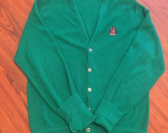 Vintage 90s IZOD Cardigan, Green Oversized Grandpa Sweater, 90s Grunge Hipster Clothing