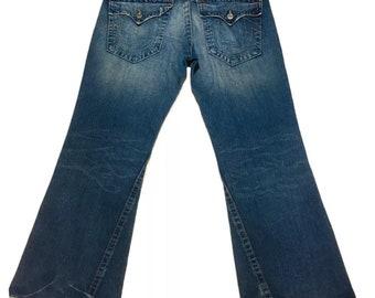 Y2K Vintage True Religion Joey Jeans Boot Cut Dark Denim Mens 36 x 33