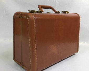 Vintage Samsonite Shawyder Bros Brown Hard Case Small Suitcase, Mid Century Samsonite Tan Overnight Bag, Wedding Prop, Photography Prop