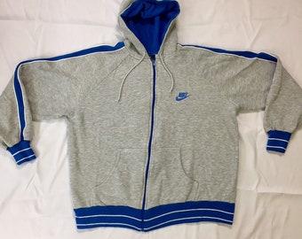 80s Vintage Nike Zip up Hoodie XL, 80s Nike Blue Tag, 90s Nike Track Jacket Xl, 90s Nike Sweatshirt Xl, Vintage Nike Zip Up Hoodie Xl