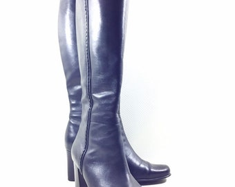 90s Vintage Black Leather Boots 8, Womens Black Leather Knee High Boots, Square Toe Boots, Stacked Heel Boots, Block Heel Boots,