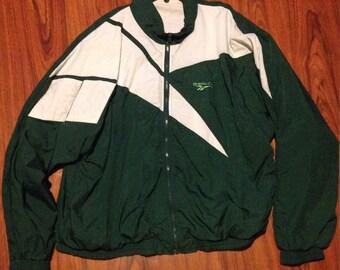 90s Vintage Reebok Windbreaker Jacket, Green and White windbreaker, Reebok Jacket, 90s Vintage, Unisex Jacket, Mens Jacket, Womens Jacket