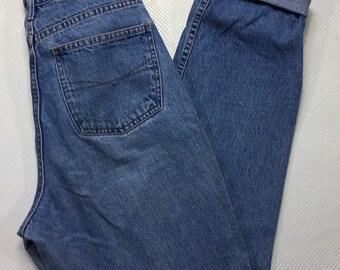 """90s Vintage Anchor Blue Denim Jeans 11/12, 90s Vintage Anchor Blue Mom Jeans 28"""", 90s High Waisted Mom Jeans 11/12, Vintage Stonewash Jeans"""