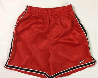 NWOT 90s Vintage Nike Red Striped Satin Silky Glanz Soccer Shorts Mens Medium, 90s Vintage Nike Red Wet Look Nylon Athletic Soccer Shorts M