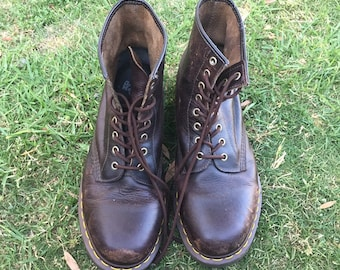 Vintage Doc Marten 8 Eye Combat Boots Brown with Yellow Stitching US 11 Men 12 Women, Patina Distressed Dr Martens, Vintage Brown Docs