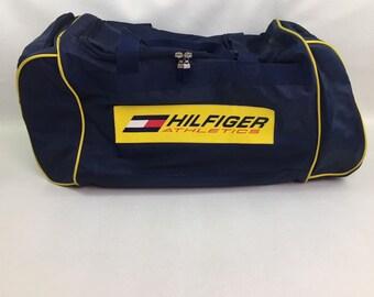 90s Vintage Tommy Hilfiger Spell Out Big Logo Blue & Yellow Color Block Duffel Bag, Vintage Tommy Hilfiger Gym Bag, 90s Tommy Athletic Bag