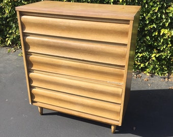 Mid Century Modern High Boy Dresser by United Furniture, Atomic Five (5) Drawer Chest, Mid Mod Sculpted Front Blonde Tall Dresser