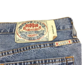 Vintage Lucky Brand Dungarees Husker Jeans Relaxed Fit Made in USA Blue Denim Mens 38 x 32