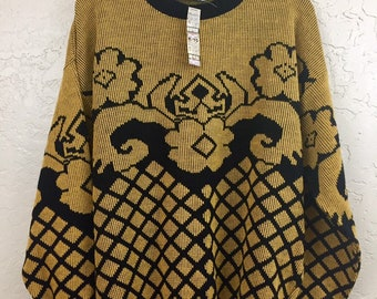 NWT 90s Vintage Plus Size Yellow Black Floral Geometric Pattern Pull Over Sweater by Lauren Knitwear, 80s New Old Stock Grandma Sweater