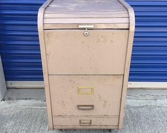 Rare Mid Century Metal Filing Cabinet, Industrial Rolling Metal Filing Cabinet, Vintage Roll Up Filing Cabinet, Inustrial Office Furniture