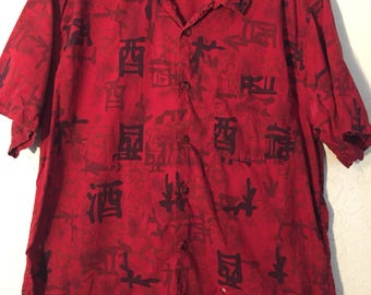 90s Vintage Mens Red & Black Asian Inspired Dress Shirt, Red Black Asian Font Mens Short Sleeve Button Up Button down, Vintage Short Sleeve