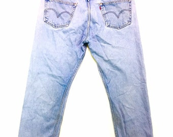 Y2K Vintage Levis 501 Jeans 42, Stone Wash Levis, High Waisted Levis, Button Fly 501, Straight Leg Jeans, Mom Jeans 42, Vintage Levis Jeans