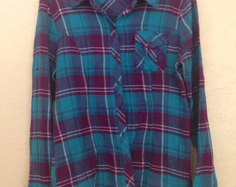 90s Vintage Anchor Blue Flannel Shirt, Womens Blouses, Teal Purple Plaid Shirt, Womens Button up Shirt, Womens Button Down Shirt