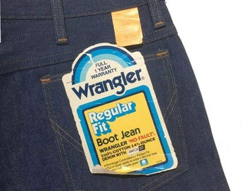 "NWT 70s Vintage Deadstock Wrangler Bootcut Jeans 945DEN ""No Fault"" 14 3/4 oz Denim with ""SanforSet"" Size: 38x30"