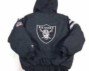 90s Vintage Oakland Raiders Reversible Puffer Jacket by Pro Player Small, Vintage Raiders Double Sided Puffy Jacket, Raiders Hooded Jacket S