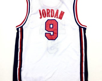 90s Vintage USA Olympics Dream Team Michael Jordan #9 Champion Jersey Vintage Charles Barkley Jersey 50, 1992 Team USA Jordan Jersey 2XL