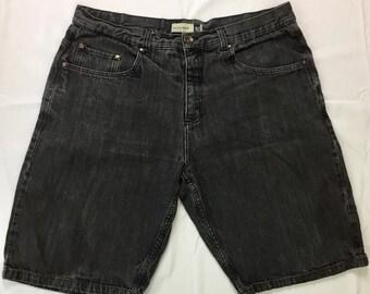 "90s Vintage Anchor Blue Beyond Baggy Jean Shorts Black Wash Denim 38"", Oversized Jeans Shorts, 90s Baggy Jean Shorts, Baggy Denim Shorts"