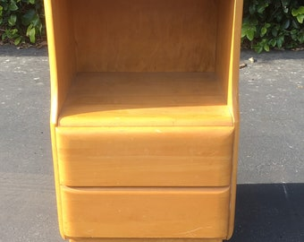 Heywood-Wakefield Star Dust Blond Two Tier Nightstand, Mid Century Modern Bedside Table, Mid Century Small Chest of Drawer, Heywood Dresser