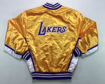 80s Vintage Official NBA Los Angeles Lakers Yellow Satin Snap Jacket, 90s Vintage LA Lakers Starter Satin Jacket, Vintage LA Lakers Jacket M
