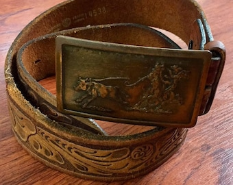 Vintage Western Tooled Leather Belt with Cowboy Brass Buckle, Country Western Leather Belt Made USA Buckle, Cowboy Leather Belt Brass Buckle