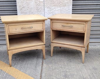 """The """"Wharton"""" by Kent-Coffey Mid Century Modern MCM Vintage Retro Atomic Bedroom Furniture Set of Nightstands Pair of Bedside Tables"""