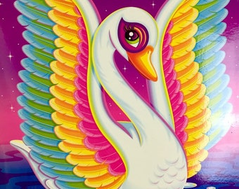 NEW Early 2000s Vintage Lisa Frank BLANCA the Magical Swan Two (2) Pocket Portfolio Folder for 3 a Ring Binder or Traperkeeper