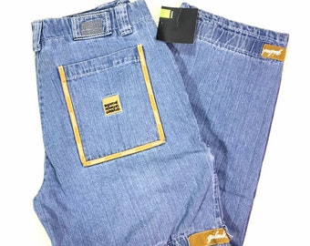 New with Tags 90s Vintage Le Jean de Marithe & Francois Girbaud MFG Blue Stone Wash Denim Cargo Jeans with Yellow Shuttle Tape Size 38M