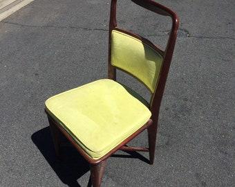 Mid Century Danish Modern Upholstered Desk Chair, Mid Modern Accent Chair, Mid Century Dark Walnut Chair, MCM Lime Green Velvet Chair