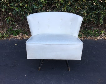 Vintage Mid Century Modern Project Upholstered Tufted Barrel Back Swiveling Slipper Chair, Kroehler Style Lounge Chair, MCM Accent Chair