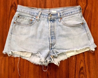 Vintage Levis 501 High Waisted Cutoff Jean Shorts 33, Stonewash Denim Cut Offs Shorts, Coachella Style, Festival Outfit, Levis 501 Cut Offs