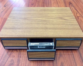 Vintage 3-drawer Audio Cassette Tale Storage Deck Storage & Media Accessories faux Wood
