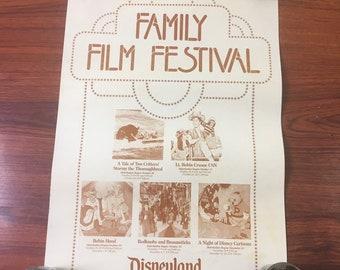 "Vintage 1980's Disneyland Family Film Festival Poster Official 17x12"""