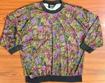 80s Vintage Purple Pink Green Blue Silky Floral Print 3/4 Length Sleeve Cinched Waist Shoulder Pads Top, 80s Floral Print Womens Blouse