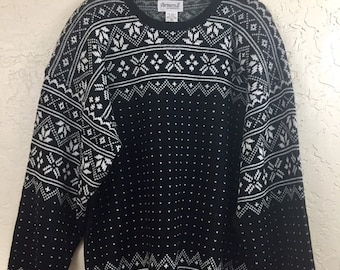 NWT 90s Vintage Plus Size Black White Geometric Pattern Pull Over Sweater by Partners II for Mervyns, 80s New Old Stock Grandma Sweater