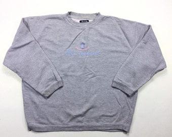 90s Vintage B.U.M. Equipment Big Logo Crewneck Pullover Sweatshirt Large, Oversized Baggy Vintage 90s BUM Sweatshirt Large, Women Sweatshirt