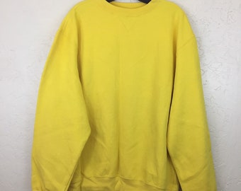 90s Vintage Bright Yellow Pullover Crewneck Sweatshirt, Mens Vintage Highlighter Yellow Sweater, Womens Vintage Yellow Sweatshirt