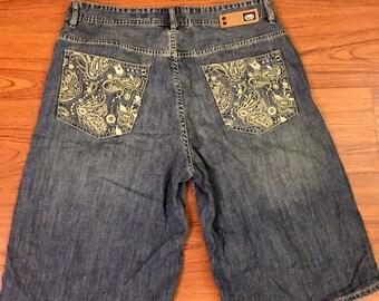 """Y2K Vintage ECKO UNLTD. Blue Wash Denim Relaxed Baggy Fit Embroidered Pockets Jean Shorts 38"""", 90s Streetwear, 90s Vintage Denim Shorts 38"""""""
