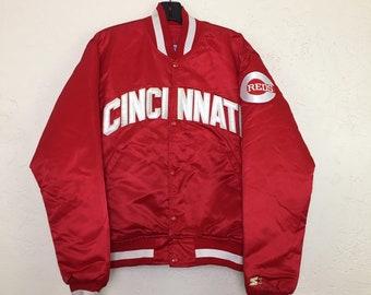 90s Vintage Starter MLB World Series Cincinnati Reds Satin Jacket, Vintage Big Red Machine Starter Satin Jacket, Cincinnati Reds Throwback