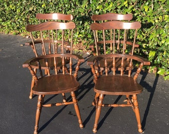 Set of Four (4) Spindle Back Splat Back Comb Back Windsor Solid Wood Dining Kitchen Chairs, Set of 4 Vintage Farmhouse Style Dining Chairs