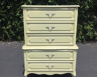 Vintage French Provincial Light Creamy Avocado Green Hiboy Dresser Tall Chest of Drawers by Henry Link, Shabby Chic Dresser Chest of Drawers