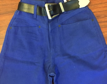90s Vintage New with Tags l.e.i High Waisted Mom Jeans Tapered Leg Bright Blue with Pilgrim Belt Size 3