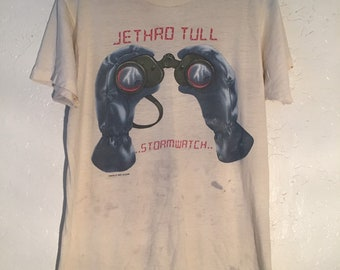 RARE 1979 Jethro Tull Stormwatch Tour Graphic Tee Shirt, 70s Band Tour Merch Shirt, Vintage Band Shirt, Distressed 70s Vintage Concert Tee