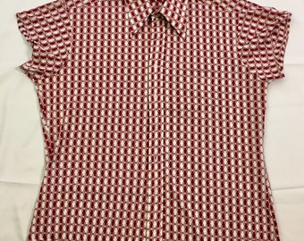 70s Vintage Now Breed by Campus Mens Tapered Button Down Shirt 17 XL, Red and White Polyester Blend Button Up Shirt, Mens Short Sleeve Shirt