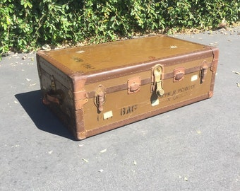 Vintage WWII Military Trunk, Antique Military Trunk, Vintage World War 2 Trunk, Vintage Trunk, Vintage Storage Chest, Party Prop, Photo Prop