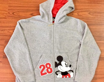 90s Vintage Mickey Mouse Disney Zip Up Hoodie, Y2K Vintage Disney Mickey Sweatshirt, Disney Mickey Mouse Grey Fleece Zip Up Hoody Sweatshirt