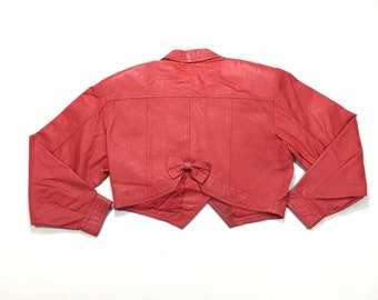 80s Vintage Cropped Red Leather Motorcycle Jacket with Shoulder Pads and Bow Back, 80s Vintage Button up Leather Jacket, Red Moto Jacket S
