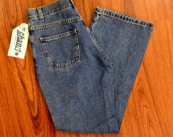 NWT 90s Vintage Medium Wash Denim Flare Leg High Waisted Mom Jeans Waist 26, 90s Mom Jean Extra Small, Vintage High Waist Denim Jeans Size 2